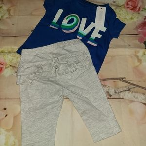 Nwt gymboree leggings and top 0-3 m